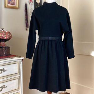 Vintage 60s Black Wool Winter Dress 10